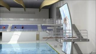 Artists impression of Bangor swimming pool