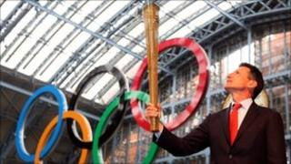 Seb Coe with Olympic torch