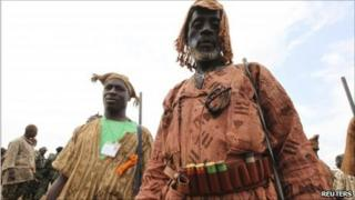 Dozo hunters at a meeting in Abobo, Abidjan, 25 July