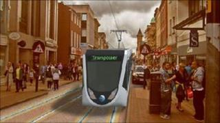 Artist's impression of Preston tram