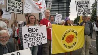 Hinkley protest outside Williton council offices 28 July 2011