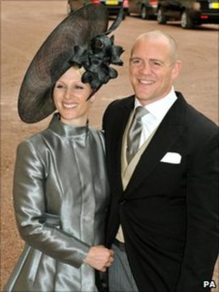 Zara Phillips and Mike Tindall at the wedding of Kate Middleton and Mike Tindall