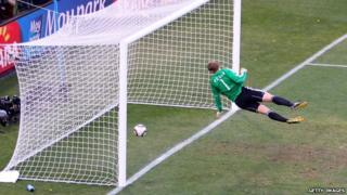 Germany goalkeeper Manuel Neuer watches Frank Lampard's shot bounce over the line in their 2010 World Cup quarter-final