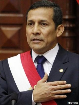 Peru's new President Ollanta Humala is sworn in to office in Congress in Lima on 28 July.