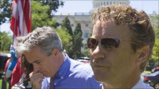 Joe Walsh and Rand Paul at a Tea Party rally on Wednesday