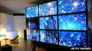 Samsung TVs on display