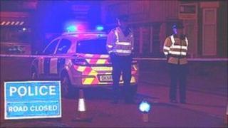 Police cordon around the fire on Marsh House Lane