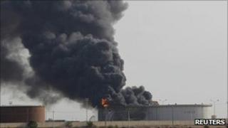 An oil storage facility on fire in Libya this week