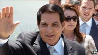 Tunisia's ex-President Zine al-Abidine Ben Ali, his wife Leila (C) and his son-in-law Sakher El Materi (R)