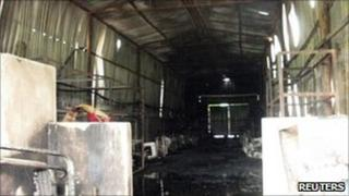 Charred remains of the shoe factory in Hai Phong (30/07/11)