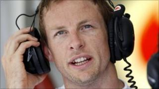 Jenson Button after a practice session of the Hungarian F1 Grand Prix