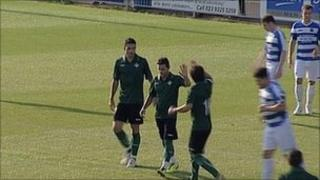 Real Betis players celebrate after scoring a goal against Havant and Waterlooville
