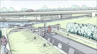 Artists impression of lock near A5 at Cosgrove