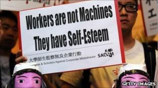 Students protest against Foxconn