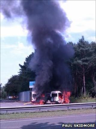 Ambulance fire on A338