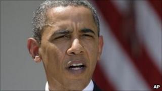 President Barack Obama at White House Rose Garden - 2 August 2011