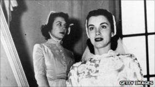Linda Christian on the day of her first wedding