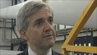 Chris Huhne at the Vestas facility