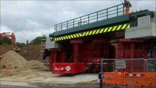 The new railway bridge in Gainsborough