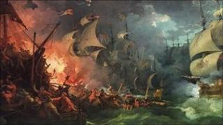 Defeat of the Spanish Armada, 1588-08-08 by Philippe-Jacques de Loutherbourg, painted 1796, depicts Drake's fire ship attack on the Spanish Armada