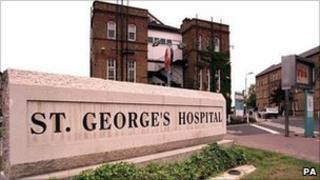 A sign outside St George's Hospital in Tooting