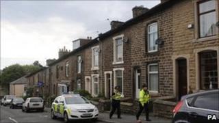 Police in Princess Street, Haslingden