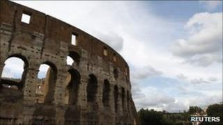"""A part of Rome""""s ancient Colosseum is seen in downtown Rome July 26, 2011"""
