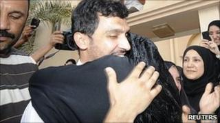 Matar Matar greeted by his mother. 7 Aug 2011
