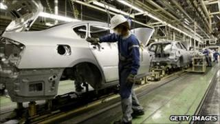 Worker at a car manufacturing unit in Japan