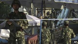 Armed Chinese police in Kashgar on 4 August 2011