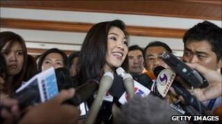 Yingluck Shinawatra speaks to the media after the Thai parliament officially elected her as the country's first female Prime Minister July 5, 2011 in Bangkok, Thailand