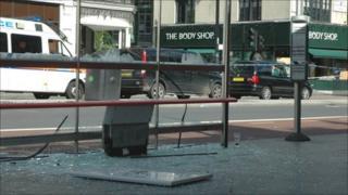 Damaged bus stand on Brixton High Street