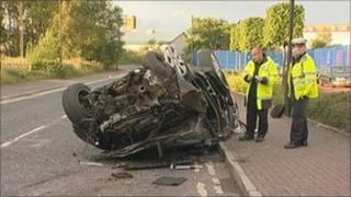 Scene of crash which killed three members of the same family
