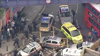 Police vehicles under attack