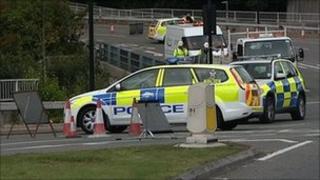 Manadon roundabout crash