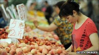 Consumer buying food items in China