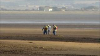 The man being rescued at Burnham-on-Sea