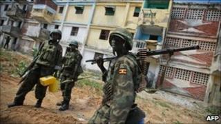 AU peacekeepers on patrol in Mogadishu (7 August)