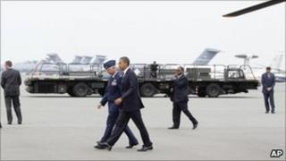 President Barack Obama at Dover Air Force Base in Delaware