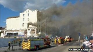 The fire on Southsea seafront