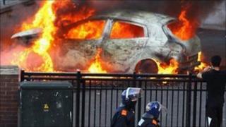 Burning car in Birmingham