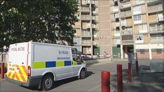 A police van at the scene of the shooting
