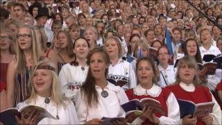 Folk singers at a festival in Estonia