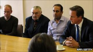David Cameron meets members of the public and shop keepers in Wolverhampton after riots
