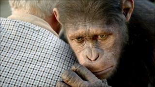 Caesar the chimp, portrayed by Andy Serkis, in Rise of the Planet of the Apes