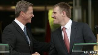 German Foreign Minister Guido Westerwelle (l) meets Montenegrin Prime Minister Igor Luksic in Podgorica