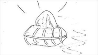 Sketch of the UFO seen above the ROF in Blackburn in 1979