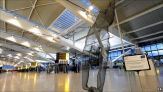 Life-size wire sculpture of diver Tom Daley