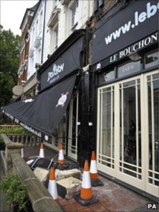 Rubble outside the restaurant in Battersea