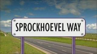 Mock-up of Sprockhoevel Way sign